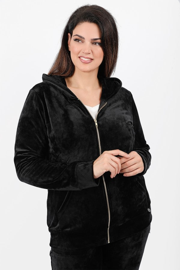 Veloute hooded cardigan
