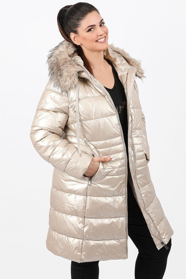 Hooded metallic longline puffer jacket