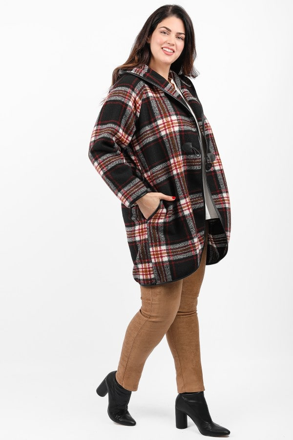 Knit plaid coatigan with hood