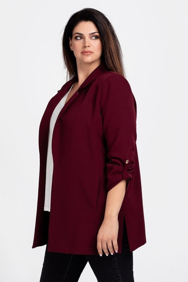 Blazer with roll-up sleeves