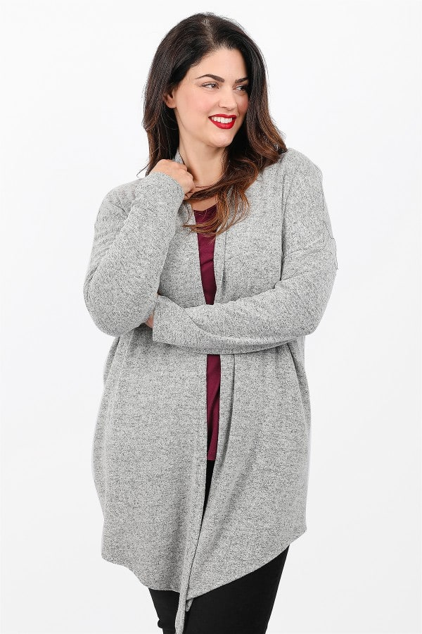 Knit asymetrical cardigan open front