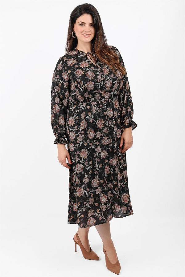 Maxi printed shirt style dress