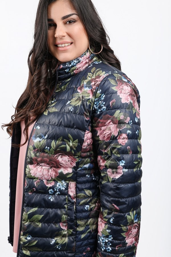 Puffer floral coat double side