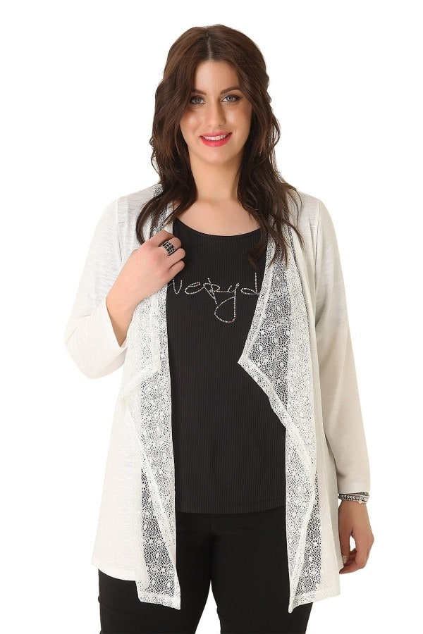 Open front cardigan with lace