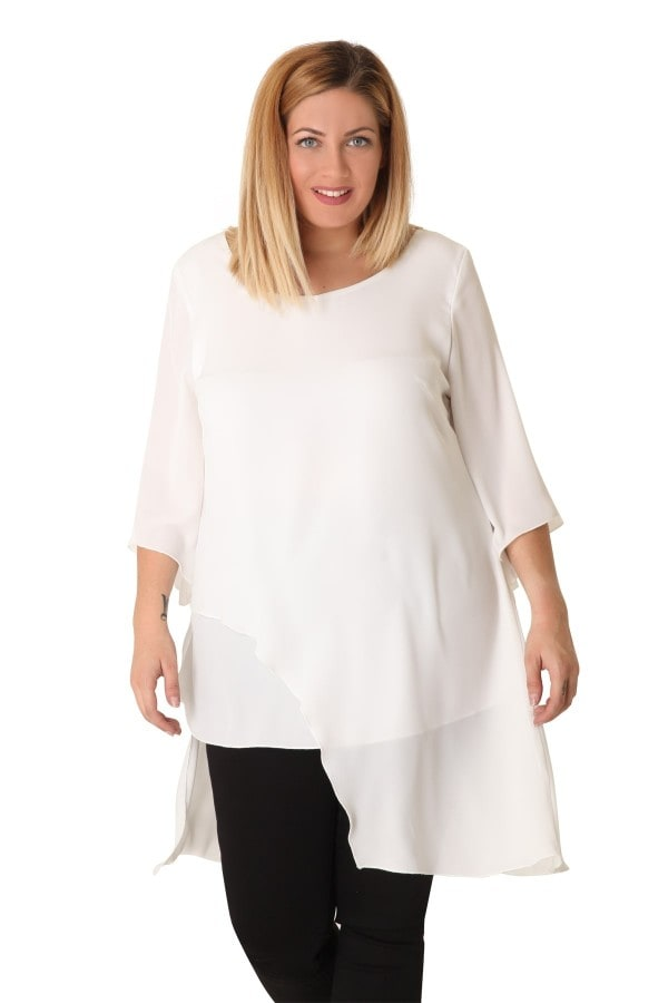 Asymmetric georgette tunic