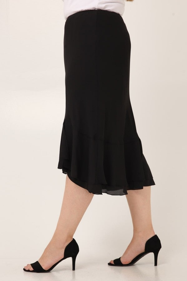 Μidi georgette skirt with ruffled hem