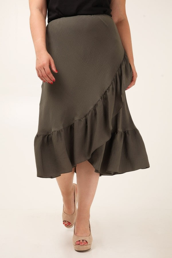 Μidi skirt with ruffled hem