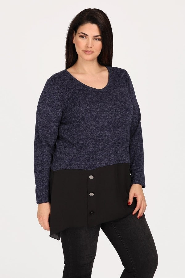Blouse with georgette hem
