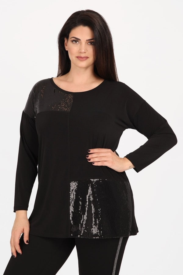 Longsleeved shirt with sequins