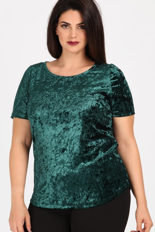 Velvet t-shirt with round neckline