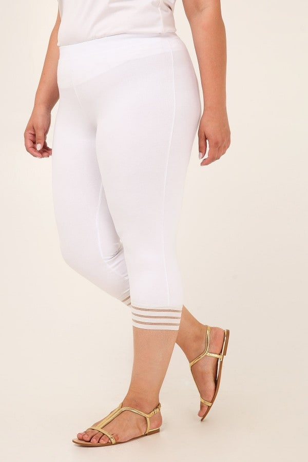 Capri stretchy leggings with mesh details