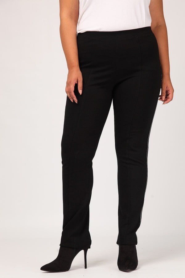 Trousers with side striped panel
