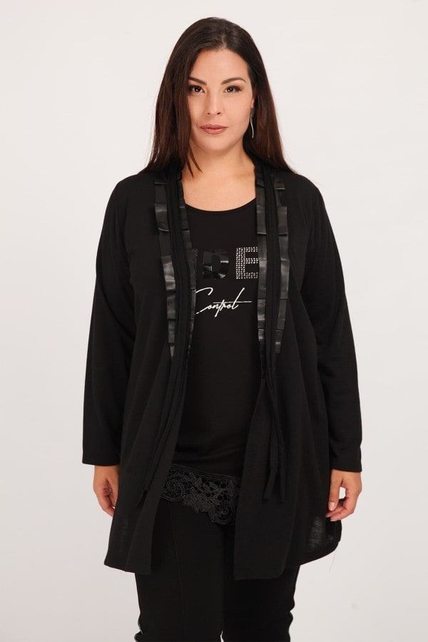 Viscose cardigan with faux leather details