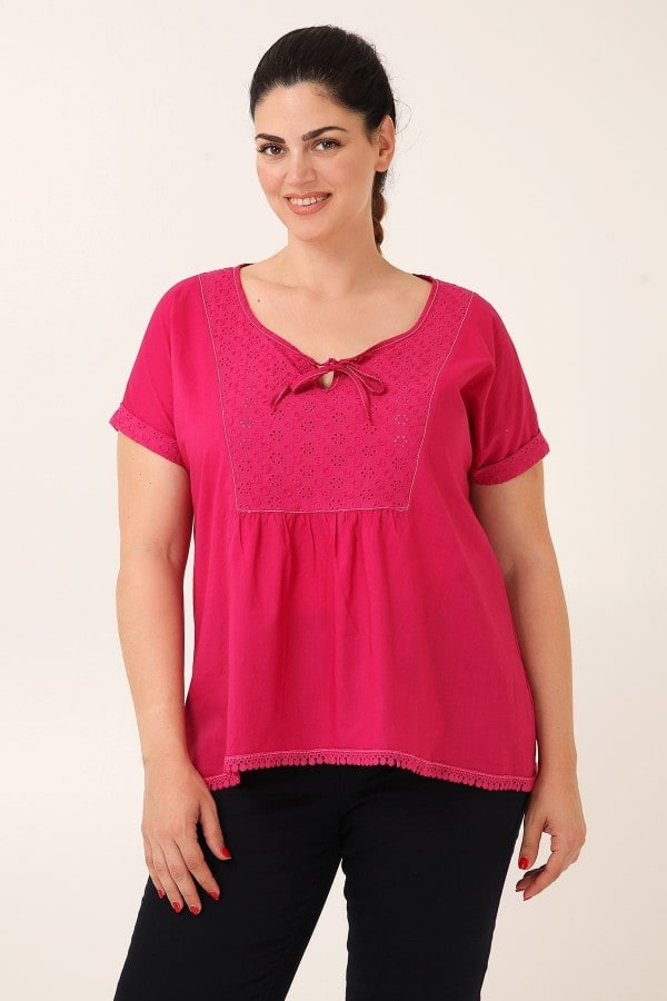 Cotton voile top with broderie anglaise