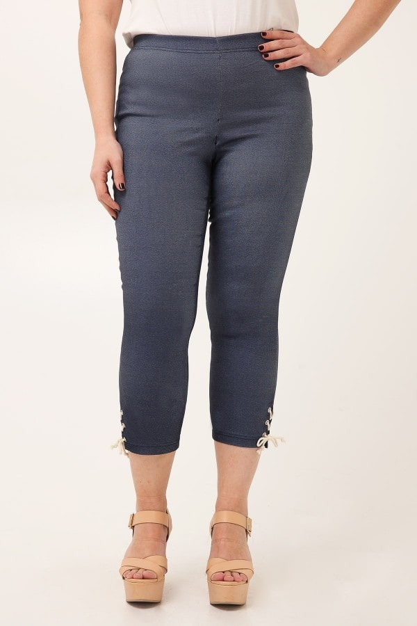 Jeans leggings with lace-up hem