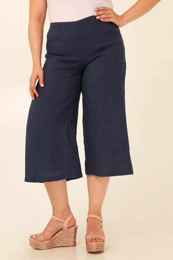 Linen wide leg cropped trousers