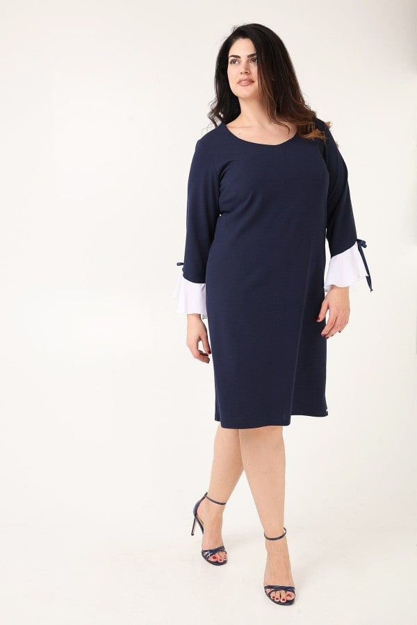 Crepe shift dress with ruffled sleeves