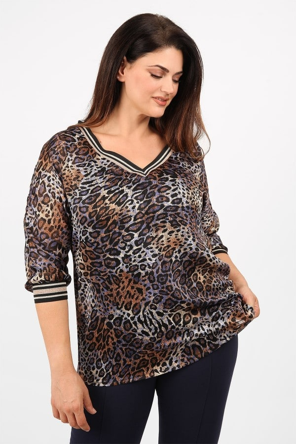 Evening blouse with embellished neck  top