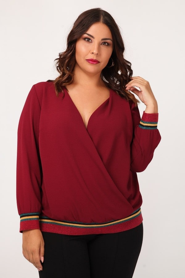 Wrap crepe blouse with elasticated lurex hem