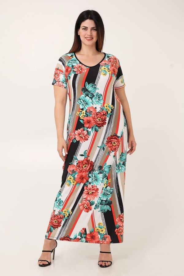 Printed jersey maxi dress with crochet back