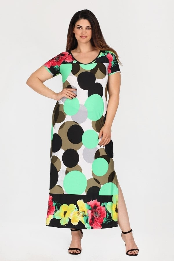 Maxi print dress with lace on the back