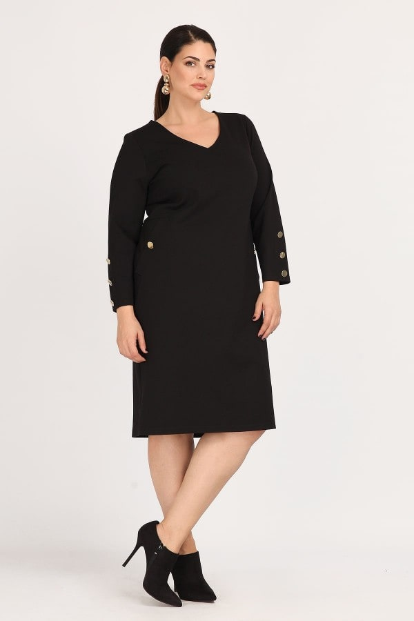 Dress with buttons on the sleeves