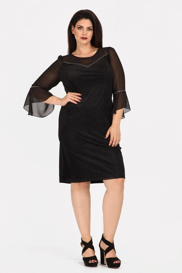 Evening midi velvet dress and bell sleeves