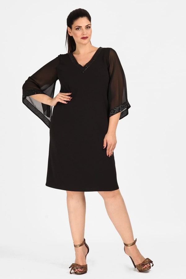 Evening midi dress with muslin sleeves