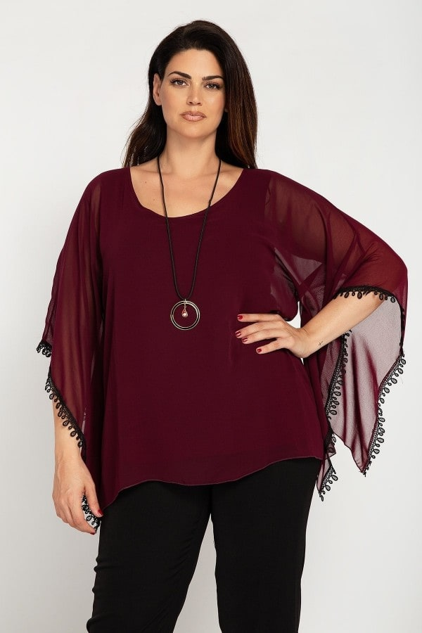 Evening blouse with crochet details