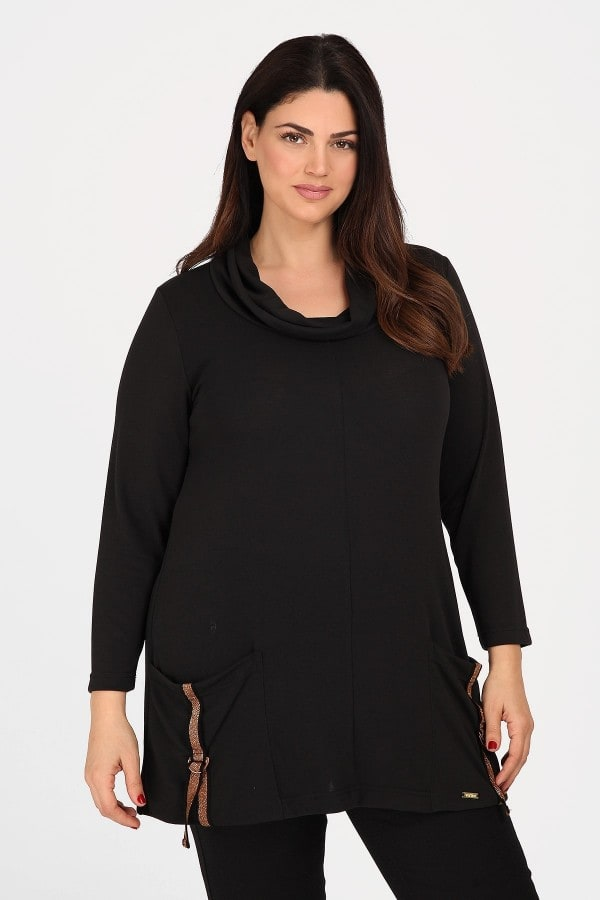 Roll down tunic with pockets