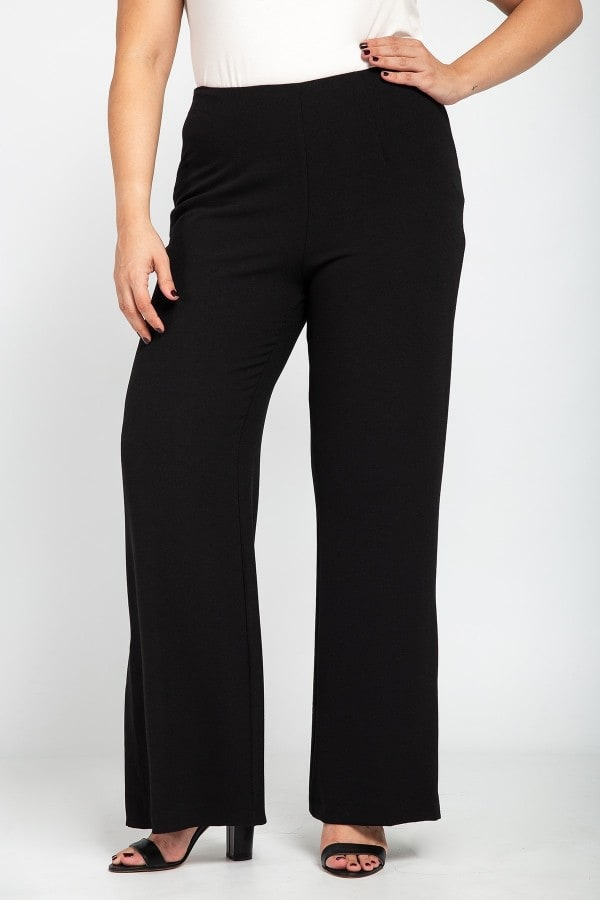 Monochrome crêpe palazzo trousers with side slits