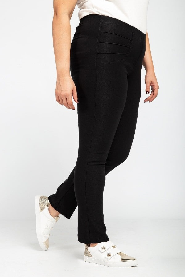 Slim fit stretch trousers with pintucks