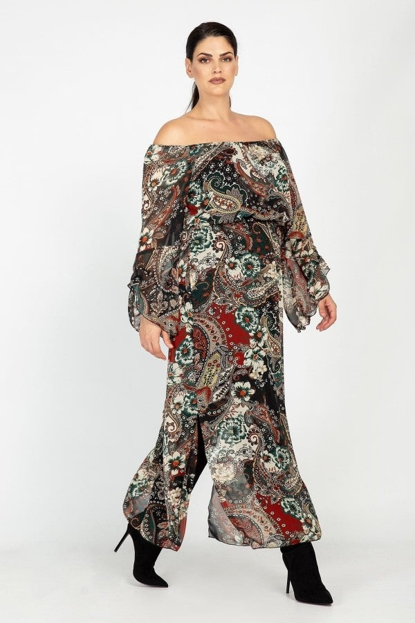 Maxi off-shoulder printed dress with paisley