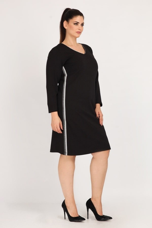 Midi dress with lurex side panel