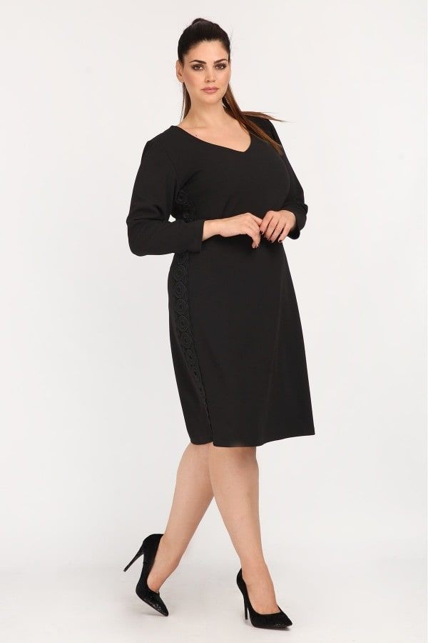 Crepe midi dress with muslin open sleeves