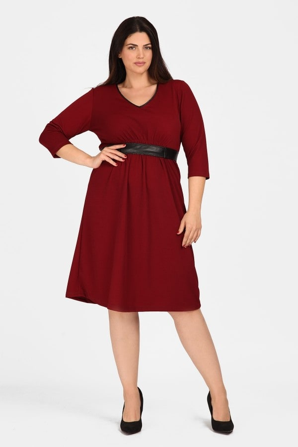 Midi dress with leatherette details