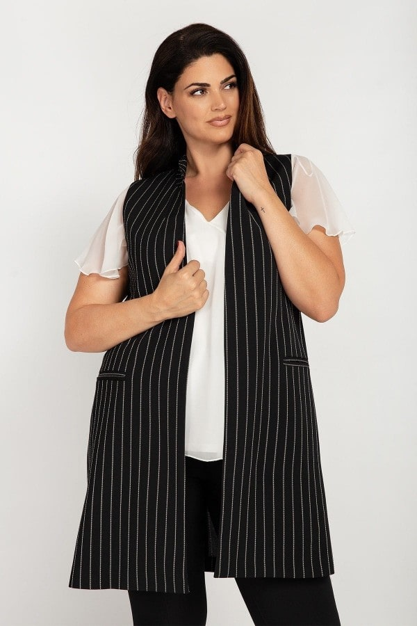 Longline striped vest with splits