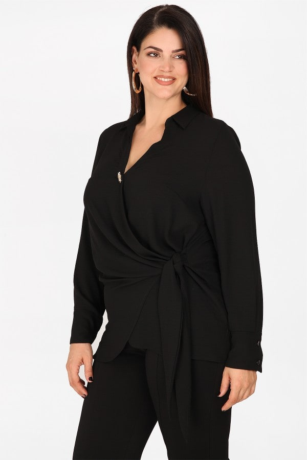Wrap shirtblouse from georgette