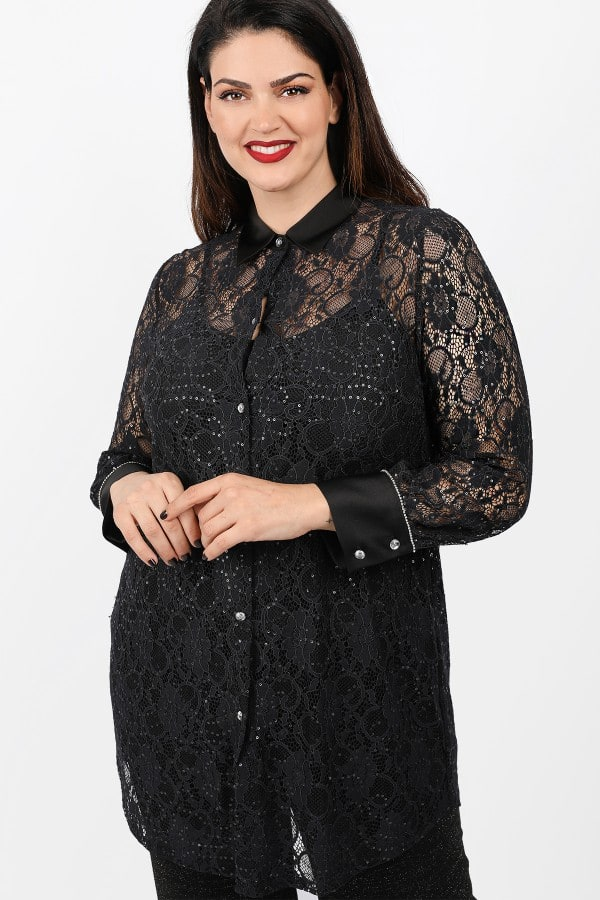 Longline shirt from lace and sateen details