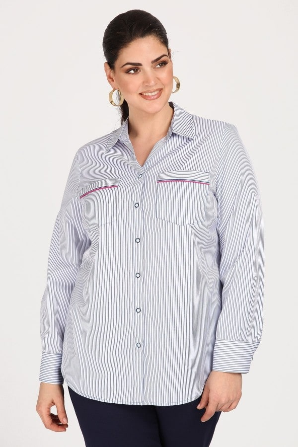 Striped shirt with openwork seam