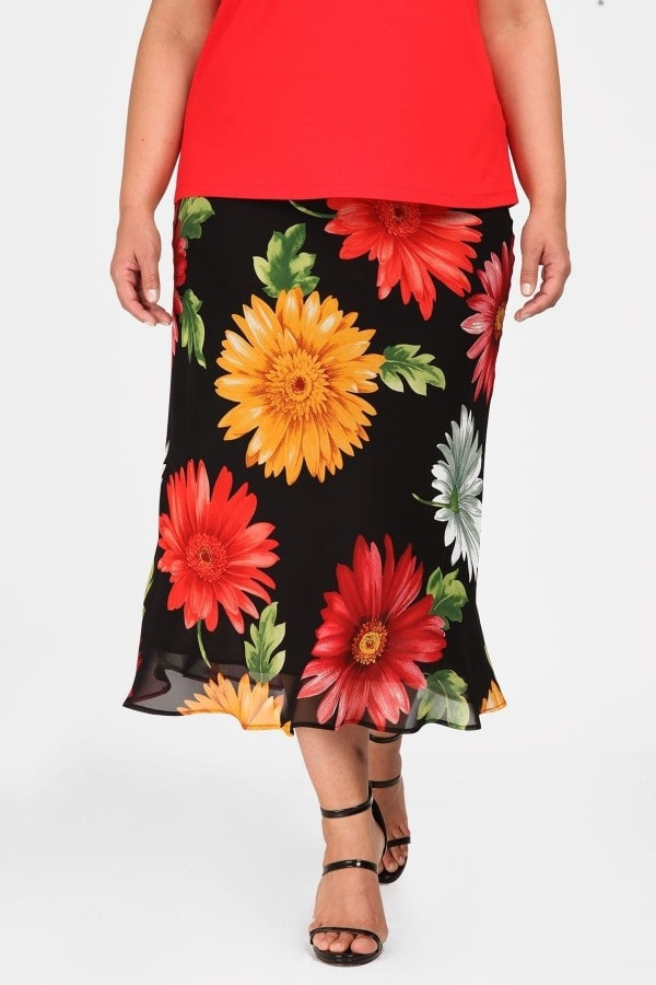 Printed midi skert with asymmetrical hem