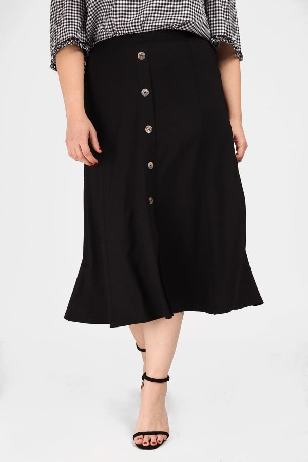 Skater midi skirt with decorative buttons