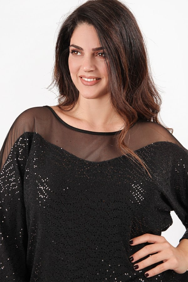 Evening blouse with sequins and tulle details