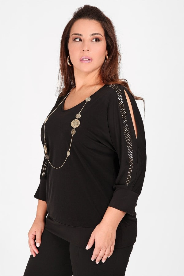 Cold-shoulder blouse with studs