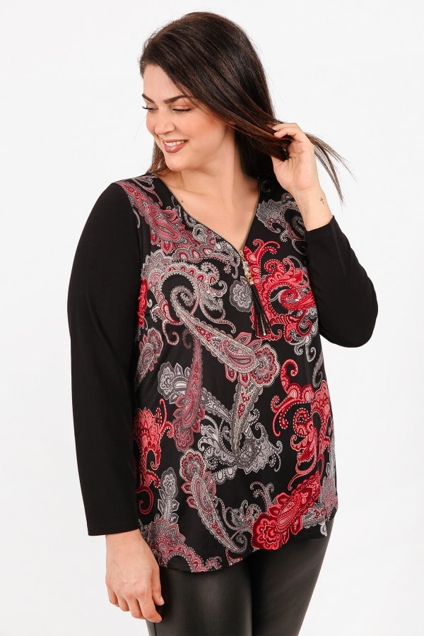 Blouse in paisley with zipper on the V