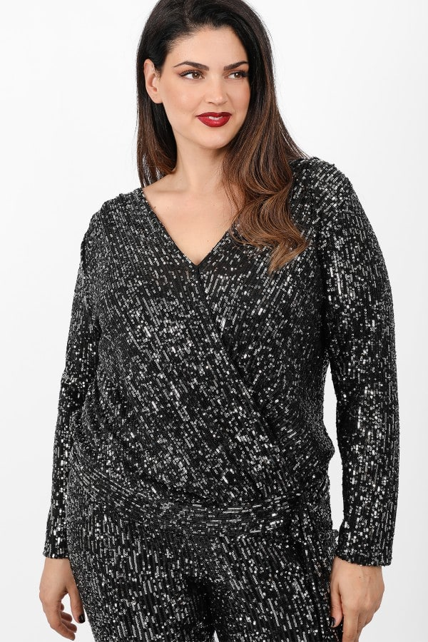 Wrap blouse from sequins