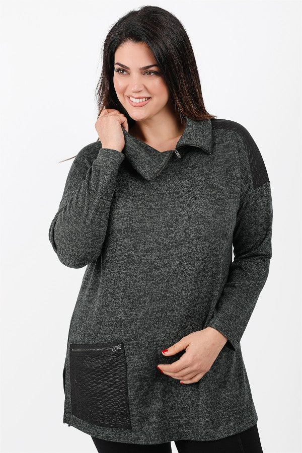 Knit roll-down neck blouse with leather like details