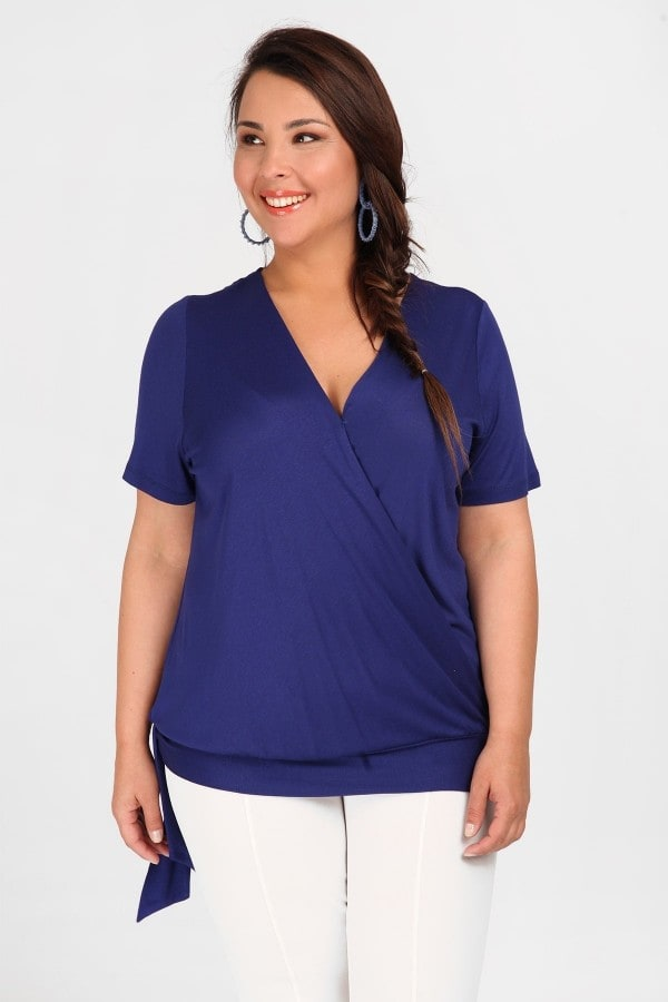 Wrap blouse with elastic waistband