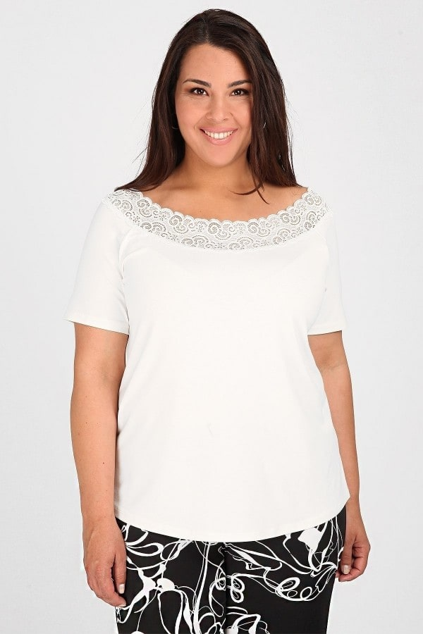 Blouse with lace on the neck