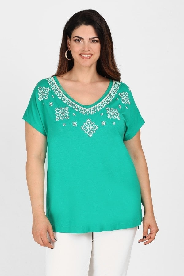 Blouse with embroidery V